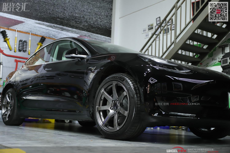 特斯拉MODEL3安装日本高品质旋压PF07款轻量化轮毂