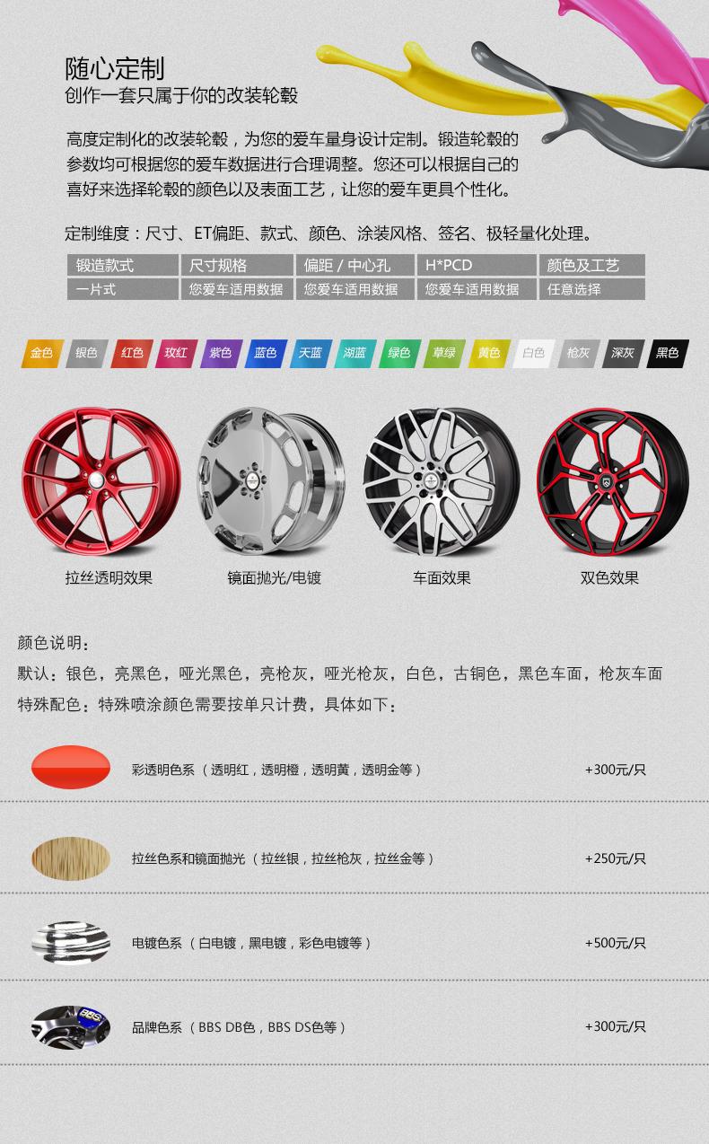 恒威启亿个性化订制单片锻造轮毂(任意款式 任意数据)